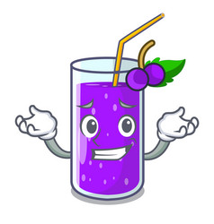 Grinning glass grape juice on character table vector