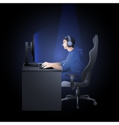 guy playing computer vector image