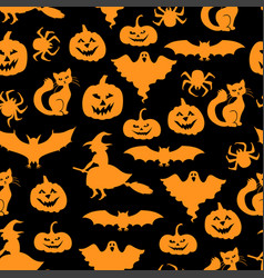 Halloween symbols pattern seamless vector