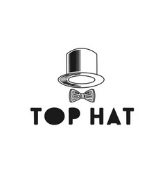 hand drawn hat and tie logo design inspiration vector image