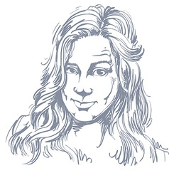 Hand-drawn portrait of white-skin skeptic woman vector