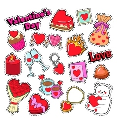 Happy Valentines Day Stickers Patches Badges vector image