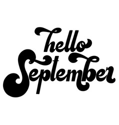 Hello month lettering 70s typography vector