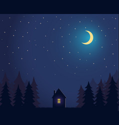 House and tree and night sky with stars and moon vector