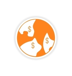 Icon sticker realistic design on paper currency vector