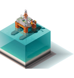 Isometric oil rig vector