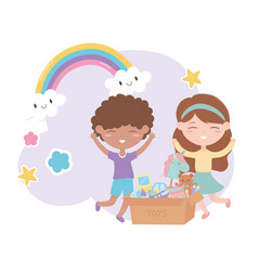 kids zone boy and girl with cardboard box toys vector image