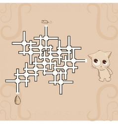 labyrinth mouse cheese and cat vector image