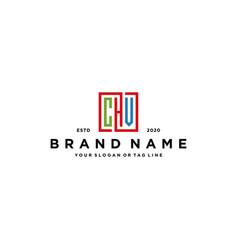 Letter chv square colorful logo design vector