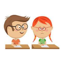 Little boy copying his classmate girl on exam vector