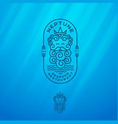 logo neptune seafood restaurant emblems vector image
