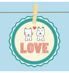 Love cat and dog card1 vector