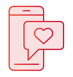 Love chat flat icon phone with love message pink vector