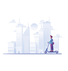man on electric scooter vector image