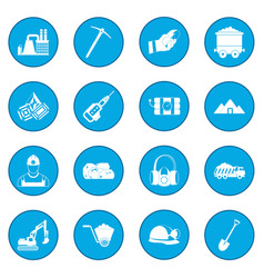 Mining icon blue vector