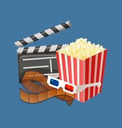 Movie clapperboard and popcorn snack packages vector