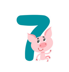 number seven with cute cartoon pig isolated on vector image