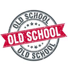 Old school round grunge ribbon stamp vector