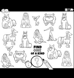 One a kind game with purebred dogs coloring vector