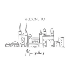 one single line drawing marseilles city skyline vector image
