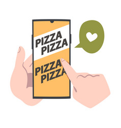 online pizza ordering finger pointing on mobile vector image