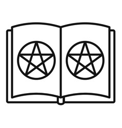 open magic book icon outline style vector image