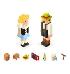 Polygon icons set oktoberfest isometric 3d man vector