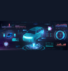 Polygonal auto hologram with hud ui interface vector