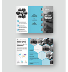 Presentation trifold template with hexagons vector