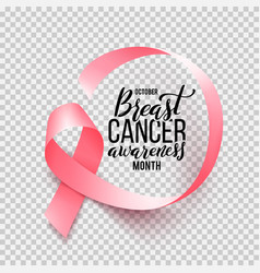 realistic pink ribbon isolated over transparent vector image