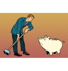 Retro businessman wants to break the cute piggy vector image