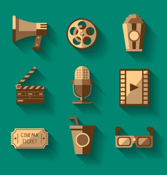 Retro cinema icons set vector