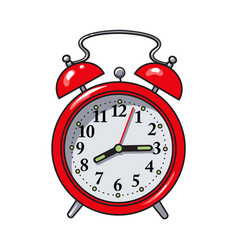 retro style red analog alarm clock sketch vector image