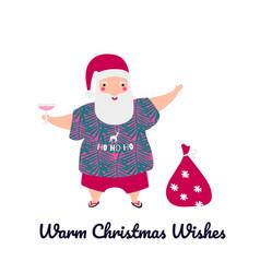 santa claus for tropical christmas cute greeting vector image