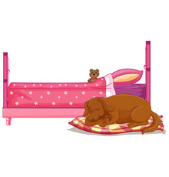 scene with brown dog sleeping bed vector image
