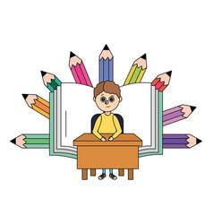 School child cartoon vector