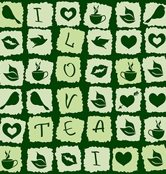 Seamless pattern of green tea puzzle vector