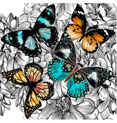 Seamless wallpaper pattern with vintage butterlies vector