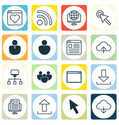 set of 16 online connection icons includes wifi vector image