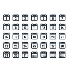 set of calendar icons with dates from 1 to 31 vector image