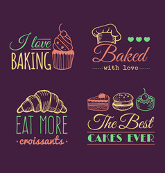 set of vintage bakery logos retro labels vector image