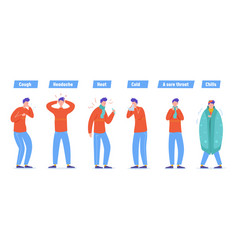 set sick people characters man patient with vector image