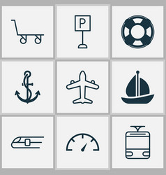 Shipping icons set with train parking sign vector