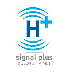 Signal letter h plus blue alphabet wireless vector