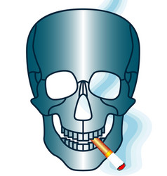skull and cigarette vector image