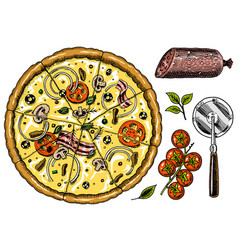 slice of pizza with cheese yummy italian vector image