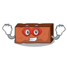 super hero brick character cartoon style vector image
