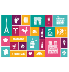 symbols of france set of flat icons vector image