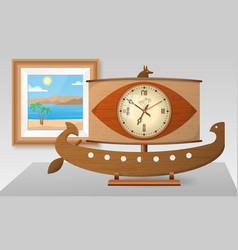 Table decorative clock - ancient egyptian galley vector