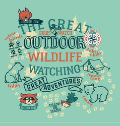 the great outdoor wildlife watching vector image